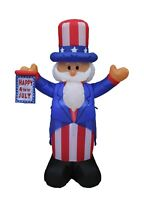 4' Patriotic LED Inflatable American Happy 4th of July Flag Uncle Sam Decoration