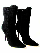 NEW DESIGNER BETSEY JOHNSON BLACK SUEDE POINTY TOE MID CALF  BOOTS SIZE 9M