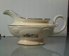 Homer Laughlin~ Gravy Boat Floral Silver Trim A49N8 Made in USA