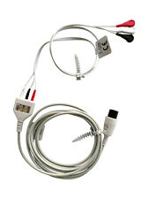 3 Lead ECG EKG Cable 6 Pin Medical Patient Monitor Compatible DIN Snap AHA, 12ft