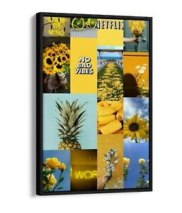 YELLOW COLLAGE -DEEP FLOATER/FLOAT EFFECT FRAMED CANVAS WALL ART PRINT-