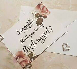 Will You Be My Bridesmaid Cards- Personalised COMPLETE with Envelope