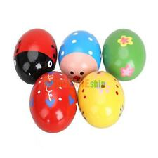 6.3x4.3cm 5pcs Colorful Toddler Baby Rattles Wood Music Egg Shaker Cute Play Toy