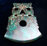 Old Nephrite Jade Stone HUGE Dagger Pendant Sculpture Beasts Characters #060217