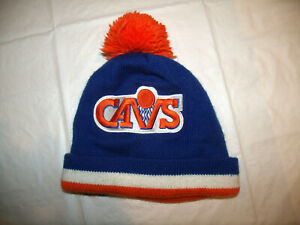 Cleveland Cavaliers Winter Cuff Pom Hat Mitchell & Ness Adult Cavs Blue/Orange