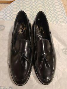New NOS VTG Florsheim Imperial Tassel Loafer Dress Shoes Brown 9.5 C N USA Made
