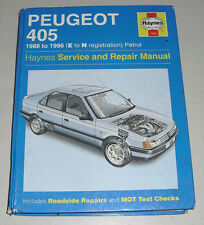 Repair Manual Peugeot 405, Year of Construction 1988 up To 1996
