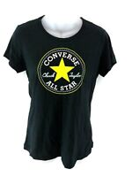 CONVERSE Womens T Shirt Top S Small Black Cotton