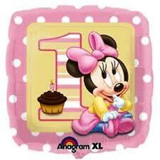 """18"""" Disney Minnie Mouse 1 ST Birthday Foil Helium Balloons Party Pink"""