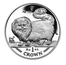 1997 Isle of Man Long Haired Smoke Cat Coin 1 oz Silver Proof with Box & Coa