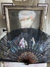 19. Jhd.  Zauberhafter Antiker Fächer handbemalt Spitzen Chantilly Lace Fan
