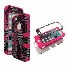 Hybrid Tuff Pink Leopard Zebra for Pink Strip Apple iPhone 5S Case Cover