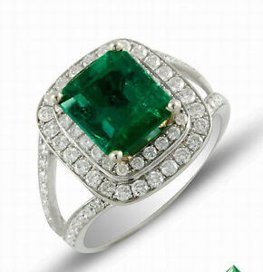 Genuine Natural Green Emerald Engagement Diamonds Ring 18K Solid Multi-Tone Gold