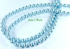 75 Baby Blue Czech Glass Pearl Coated Glass Round Beads 8mm