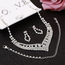 Silver Rhinestones V Necklace, Bracelet, Earrings, Ring Bridal Party Jewelry Set