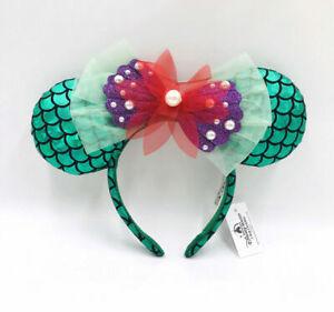 Disney Park Green Bow Ariel Mickey Minnie Mouse Ears The Little Mermaid Headband