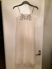 Girl's Ivory Monsoon Netted Pleat Dress With Silver Sequins-Age 12-13, Worn Once