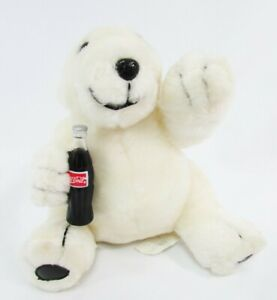 Coca Cola Plush Polar Bear Collection 1996 with Coca-Cola bottle
