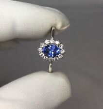 GIA CERTIFIED 1.01ct UNTREATED Ceylon Blue Sapphire White Gold Diamond Halo Ring