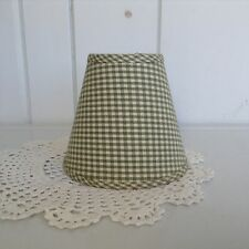 Candelabra Style Green & Off White Checkered Lamp Shade Gingham Country Decor