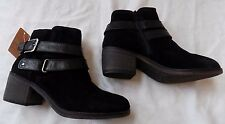 NEW Brigitta Black SUEDE Leather Fashion Ankle High Womens Heel Boots Shoe 6 $75