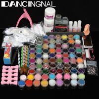 78 Colors Acrylic Powder Glitter Nail Brush False Finger Nail Art Tools Kit Set