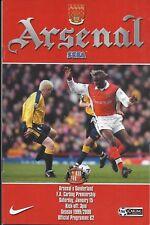 Football Programme>ARSENAL v SUNDERLAND Jan 2000