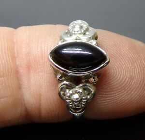 Handmade 925 Sterling Silver Boho Style Real Black Onyx Stone Ring Size N or S