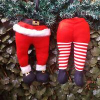Pair Elf or Santa Bendy Legs & Bottom Christmas Tree Decoration Naughty Elves
