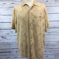 Men's Large Hawaiian Camp Shirt By Tulliano Button Up Gold Textured Silk