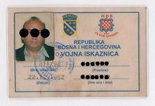 Croatia Army - HOS - Military ID Card 1992 Bosnia Army - Ustasa NDH Pavelic  RRR