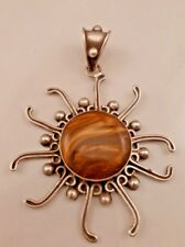 Pendant 3 inchs.center is art glass D Montero's Taxco Mexico 950 Sterling Sun