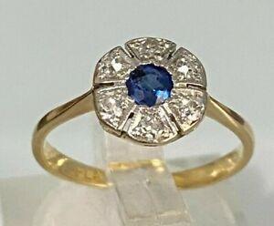 18CT Gold & Platinum w/ Sapphire & Diamond ring 1.75g size K -  5 1/8