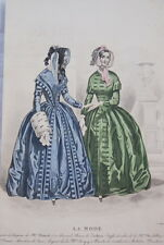 GRAVURE COULEURS LA MODE-OLD FASHION PRINT XIXe SIECLE COSTUME MD107
