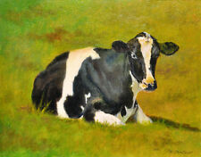 COW ART PRINT, HOLSTEIN COW ON FARM, FARM ART from Oil Painting by P. Tarlow