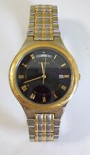Vintage Men's Wind Up PULSAR Day & Date Calendar Black Faced Watch