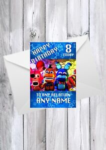 FNAF Five Nights At Freddies Birthday Card, Any Relation, name and age