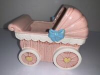 Vintage Napco Nursery Planter Baby Bassinet Pink Girl Bow Rock A Bye Baby