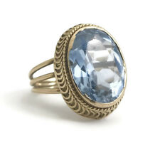 Vintage Handmade Oval Blue Topaz Cocktail Ring 18K Yellow Gold 12 CT, 6.46 Grams