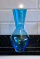 DESIGNER MID CENTURY VINTAGE HAND MADE BLOWN BLUE GLASS VASE PONTIL UNIQUE GIFT