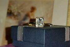 9CT GOLD AQUAMARINE OCTAGON & DIAMOND SIZE N