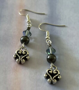 Brighton CANNES Light Turquoise Blue & Dark Grey Pearls Beads Custom Earrings