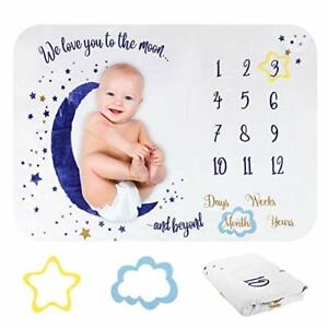 Baby Flannel Monthly Milestone Blanket | Unisex | To the Moon & Back