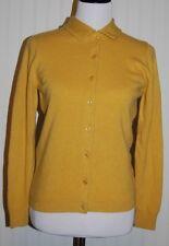 Vtg Ballantyne Women's Eur 36 100% Cashmere L/S Button Gold Cardigan Sweater