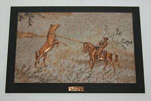 Vtg Copper Fossilized Stone Wall Art E Kohler Brasil 87 Wild Horse & Cowboy Rope