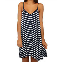 Women Sexy Summer Cool Black And White Stripes Loose V-neck Halter Dress。 Gift