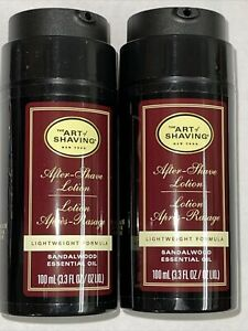 The Art of Shaving Sandalwood After-Shave Lotion 2 PC LOT 3.3 oz ea Brand New