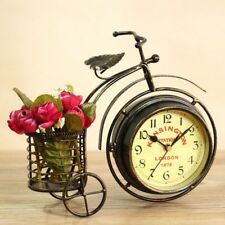 Vintage Double Sided Metal Bicycle Clock Decorative Bike Mute Desk Table Clock