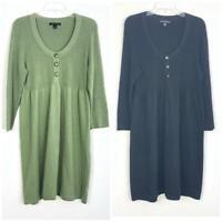 Banana Republic Women's Green Black Sweater Dress sz XL Knit Long Sleeve 98K