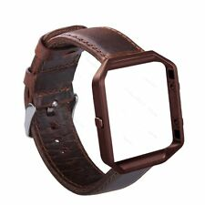 Coffee Brown Leather Wristband Band Bracelet Strap And Frame For Fitbit Blaze